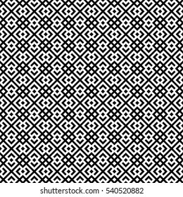 Seamless Chinese window tracery pattern. Repeated stylized black rhombuses on white background. Symmetric geometric abstract wallpaper. Trellis motif. Digital paper, textile print. Vector illustration