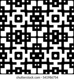 Seamless Chinese window tracery pattern. Repeated stylized black squares and crossed lines on white background. Lattice motif. Symmetric geometric grid wallpaper. Digital paper. Vector illustration