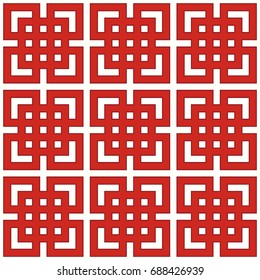 Seamless Chinese window tracery surface pattern design. Repeated white squares, angle brackets, lines on red background. Ancient ethnic ornament wallpaper. Oriental motif, textile print. Vector art.