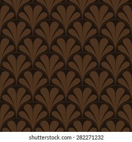 Seamless chocolate brown retro art deco waves pattern vector