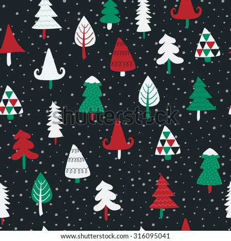 seamless christmas background cute christmas trees stock vector