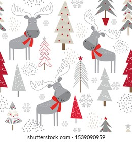 Seamless Christmas background with decorative Christmas trees and cute moose design, vector illustration