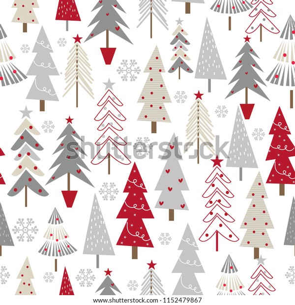 Seamless Christmas background with decorative Christmas trees