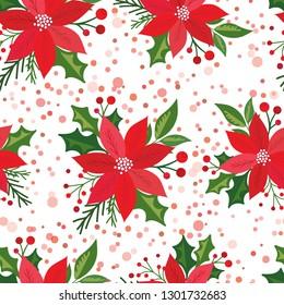 Seamless Christmas background with poinsettia
