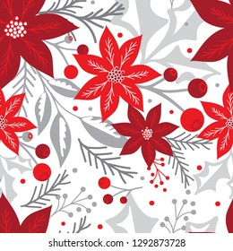 Seamless Christmas background with poinsettia and berries