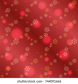 Seamless Christmas background with random scatter falling golden snowflakes, red blurred lights and sparkles on a red gradient background
