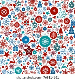 Seamless Christmas background with snowflakes, stars, christmas tree ornaments. Vector holidays pattern in bright tones on white background