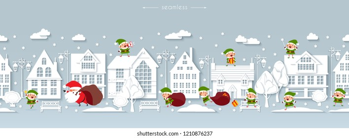 Seamless Christmas border, winter street, Scandinavian style white paper buildings with funny Santa Claus and elves, lanterns, benches, trees, snowflakes, snowdrifts, wintertime, vector illustration