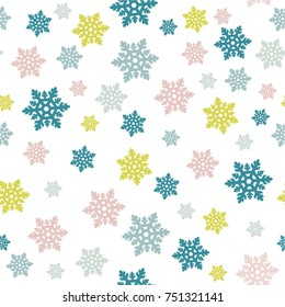 Seamless Christmas children pattern. Colorful snowflakes