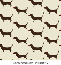 Seamless Christmas dachshund pattern with repeating cute brown dachshund wearing red nose on beige background. For holiday decoration, textile, wrapping paper, wallpaper, gift boxes, packing elements