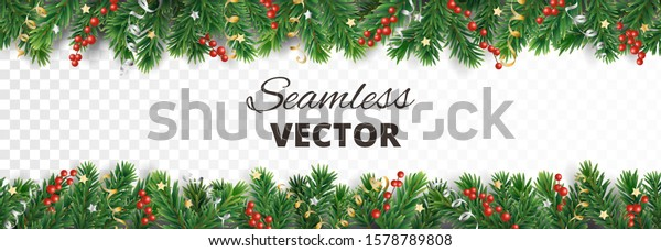 Seamless Christmas decoration isolated on white. Vector holiday border, frame. Gold and silver ornaments. Red holly berry on pine tree branches. For celebration banners, headers, posters.
