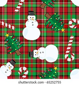 Seamless christmas elements over checkered pattern