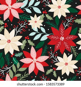 Seamless Christmas floral with poinsettia and leaf on dark background, vector illustration