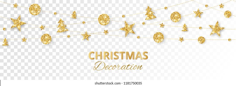 Seamless Christmas golden decoration isolated on white background. Hanging glitter balls, trees, stars. Holiday vector frame for party posters, banners. Winter season sparkling ornaments on a string.