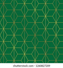 Seamless Christmas green and gold wrapping paper pattern. Christmas lattice trellis pattern background.
