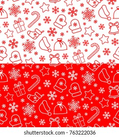 seamless christmas and new year pattern in a minimalistic style. Suitable for wrapping paper, greeting cards etc.