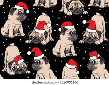 Seamless Christmas pattern. Adorable beige puppies Pugs in a Santa's red cap at a snow night. Textile composition, hand drawn style print. Vector illustration.