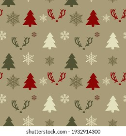Seamless christmas pattern. Background with  deers, snowflakes and christmas trees. Perfect for wrapping paper, greeting cards, textile