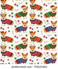 Seamless Christmas Pattern with Corgis. Vector Illustration.