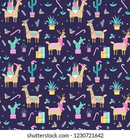 Seamless Christmas pattern with cute cartoon llamas