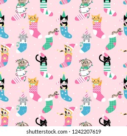 Seamless Christmas pattern with cute cartoon cats in socks