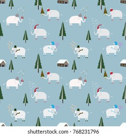Seamless Christmas pattern with cute elephant  background