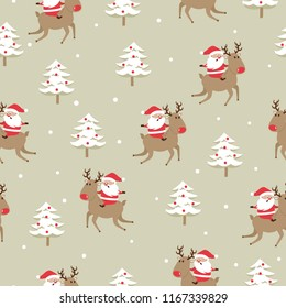 Seamless Christmas pattern with cute Santa Claus, deer and christmas tree. Wrapping paper design.