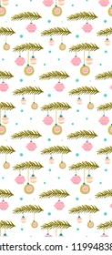 seamless Christmas pattern. fir branches and balls. vector
