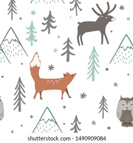 Seamless Christmas pattern with forest trees, mountains, fox, owl and deer. Happy New Year background. Xmas Vector design for winter holidays. Child drawing style nature forest illustration.