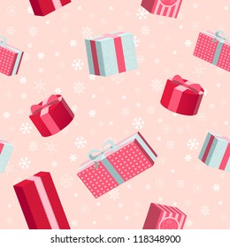 Seamless  Christmas pattern with gift boxes on snowflakes background