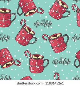 "Seamless Christmas pattern with hand drawn colored cup of hot chocolate with marshmallow and candy. lettering phrase ""hot chocolate"". Can be used for wallpaper, web page background, surface textures."