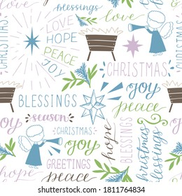 Seamless christmas pattern with hand drawn words Love, Hope, Peace, Joy, Greetings, Blessings, stars and Angels. Biblical holiday background. Christian print.