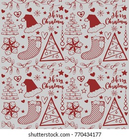 Seamless christmas pattern in a handmade style. New Year's decorations and attributes. New Year's wrapping paper, background and texture.