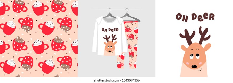 Seamless Christmas pattern and illustration for kid with fawn, text Oh deer. Cute design on pajamas mockup. Baby background for clothes wear, room decor, t-shirt, baby shower invitation, wrapping