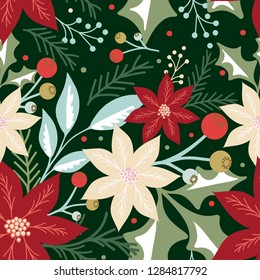 Seamless Christmas pattern with leaf, berries and poinsettia design