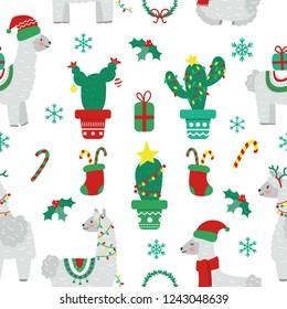 Seamless Christmas pattern with llama alpaca, sock, snowflakes, wreath. Flat cartoon style. Vector illustration.