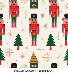 Seamless Christmas Pattern with Nutcracker and Christmas Tree in Vector.