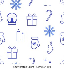 Seamless Christmas pattern on a white background. Snowflake, gift, mitten, lollipop, candles, christmas sock, glass ball