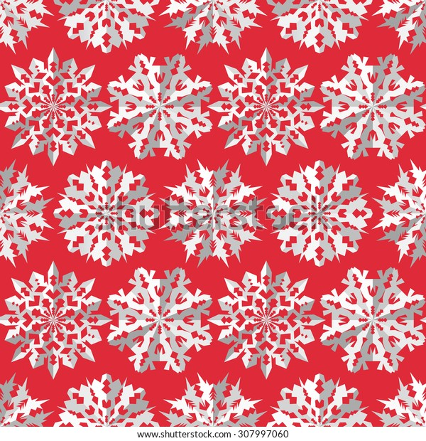 Seamless christmas pattern. Paper snowflake origami white icon silhouettes on pink red background. Paper cut out convex sign with shadow. Winter theme texture. Vector illustration.