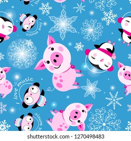 Seamless Christmas pattern of piglets and penguins on a blue background with snowflakes
