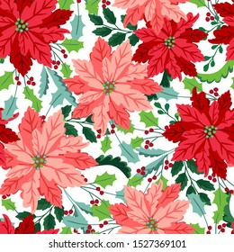 Seamless christmas pattern with pink and red poinsettia, holly, mistletoe and berries. Floral tile.