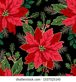 Seamless christmas pattern with red poinsettia, black background, gold outline, holly, mistletoe and berries. Floral tile.