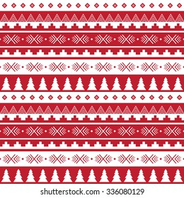 Seamless christmas pattern in red and white color.