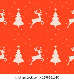 Seamless christmas pattern with reindeer and pine trees. Winter wallpaper design. Seasonal background in red and white. Fun xmas concept, holiday greetings.