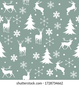 Seamless Christmas pattern with reindeer. Vector illustration.