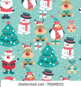 Seamless Christmas pattern with Santa clause, deer, tree, decoration, snowflakes, penguin, snowman and boxes. vector illustration.,