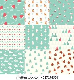 Seamless Christmas Pattern set