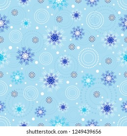 Seamless Christmas pattern with a pattern of snowflakes.