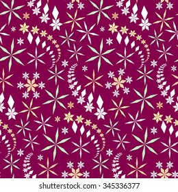 Seamless christmas pattern. Snowflakes, crystals on dark magenta background. Multicolor light star silhouettes. Winter, holiday, sale, ice cream, sweets wrapper texture. Vector