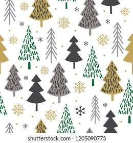Seamless Christmas pattern with tree design, Christmas background, decorative paper, suitable for gift wrap, wallpaper, vector illustration